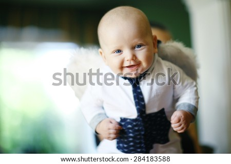 cheerful baby at home portrait - stock photo