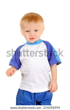 Cheerful Baby Boy Isolated on the White Background - stock photo