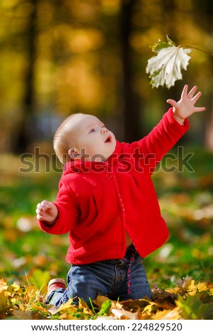 Cheerful baby in a red dress playing with yellow leaves. Child crawls outdoor autumn park. Autumn is time of bright colors. Yellow leaves on the green grass. - stock photo