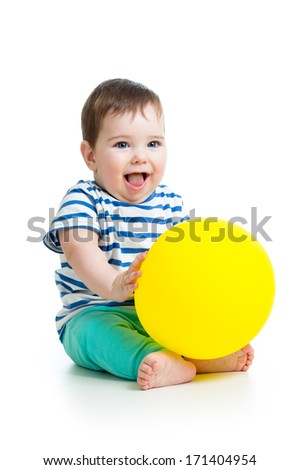 Cheerful baby with ballon in hand isolated - stock photo