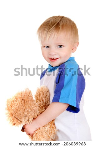 Cheerful Baby with Teddy Bear Isolated on the White Background - stock photo