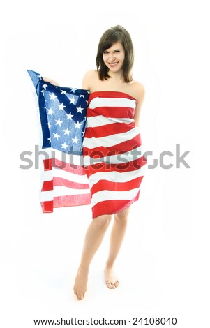 cheerful beautiful nude woman wrapped into the American flag