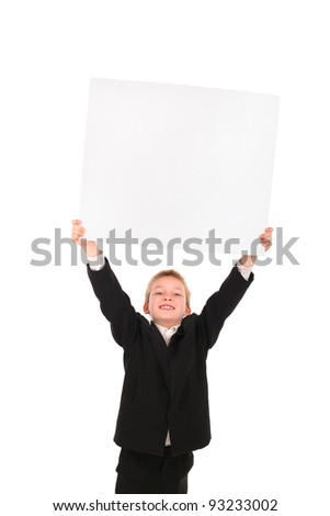 cheerful boy raise blank signboard isolated on the white