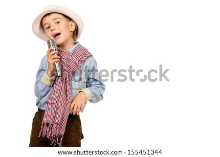 Cheerful boy singing with a microphone. Different occupations. Isolated over white. - stock photo