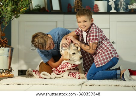 Cheerful boys are playing with dog on the floor in decorated Christmas room