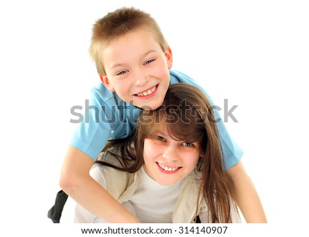 Cheerful Brother and Sister Isolated on the White Background
