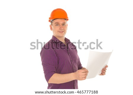 cheerful builder in helmet with plan in hands looking at the camera and smiling isolated on white background