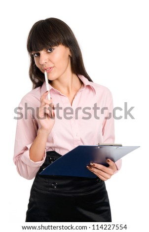 Cheerful business girl with a clipboard in his hands on a white background