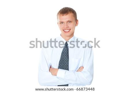 cheerful business man - stock photo