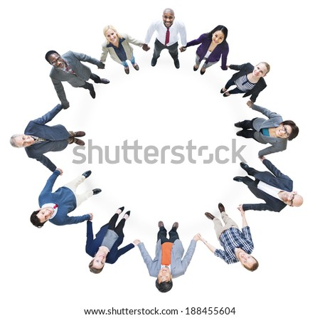 Cheerful Business People Holding Hands Forming a Circle - stock photo