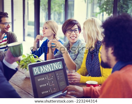 Cheerful Business People Planning on a Coffee Break - stock photo