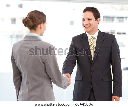 Cheerful businessman and businesswoman concluding a deal by shaking hands
