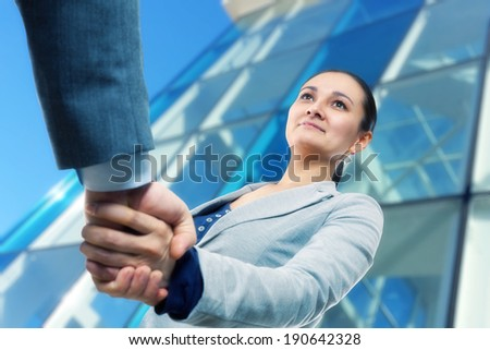 Cheerful businesswoman  and client handshaking - stock photo