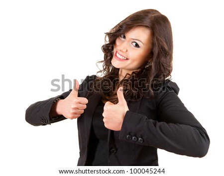 cheerful businesswoman with thumbs up, white background