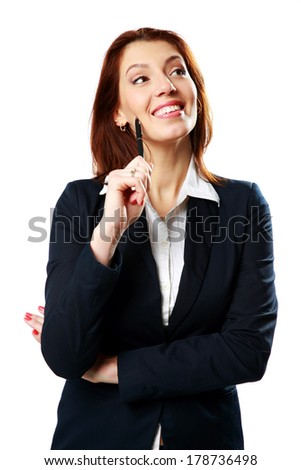Cheerful businesswoman woman holding pen isolated on white background - stock photo