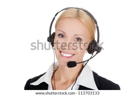 Cheerful call center operator against white background..
