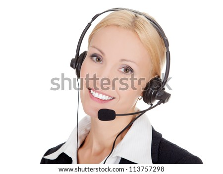 Cheerful call center operator against white background - stock photo