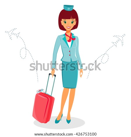 Cheerful cartoon flight attendant in blue and red uniform with suitcase,  illustration professional occupation character. Isolated on white background. Communication in the air concept - stock photo