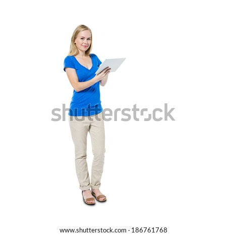 Cheerful Casual Woman Holding Digital Tablet - stock photo