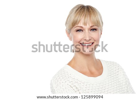 Cheerful caucasian lady posing in casuals isolated on white background. - stock photo