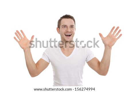 Cheerful caucasian man standing with hand up