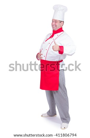 cheerful chef standing with gesture thumb up isolated on white background - stock photo