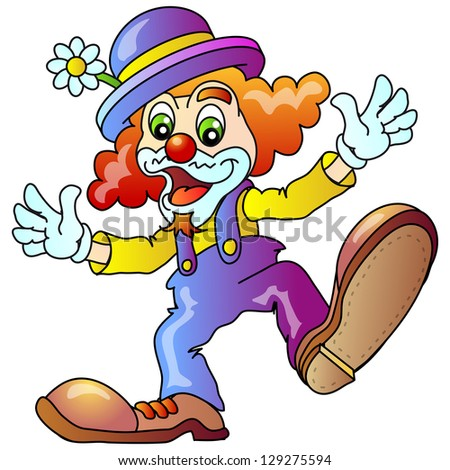 Cheerful Clown.  Raster version, vector file also included in the portfolio. - stock photo