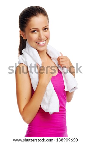 cheerful confident young woman with towel after gym portrait - stock photo