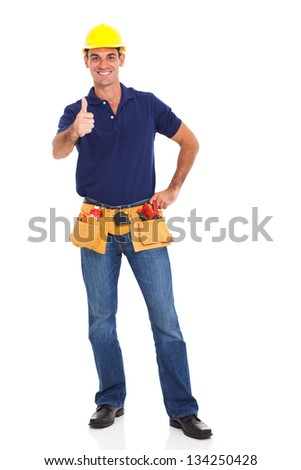 cheerful construction worker giving thumb up isolated on white background