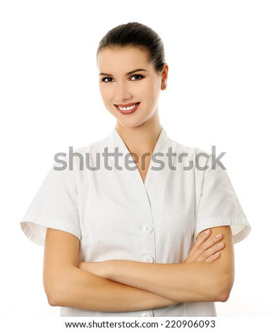 Beautician uniform stock images royalty free images for Uniform spa vector