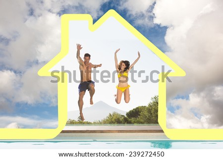Cheerful couple jumping into swimming pool against blue sky with white clouds - stock photo