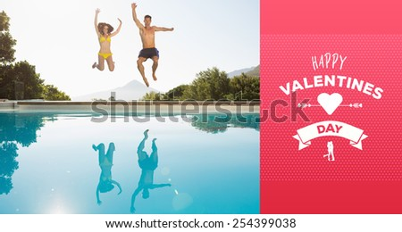 Cheerful couple jumping into swimming pool against happy valentines day - stock photo