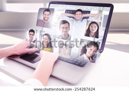 Cheerful creative business employee resting against profile pictures - stock photo