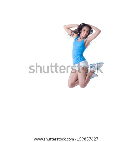 Cheerful cute girl in jump, isolated on white