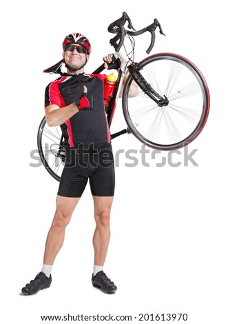 cheerful cyclist with winning gesture carry a bike isolated on white background. Successful cyclist carries a road bike. Racing cyclist shows gesture thumbs up. Road biker carries his bike. - stock photo