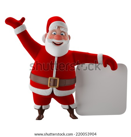 Cheerful 3d model of Santa claus, happy christmas icon, funny cartoon Christmas Grandpa, decorations for Christmas greetings card, web, advert. Kind model,  symbol isolated on white background