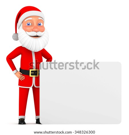 Cheerful 3d model of Santa Claus holding blank banner. Christmas character, winter holiday background.