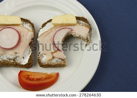 cheerful diet breakfast, wholemeal bread with ham and radish, healthy diet - stock photo