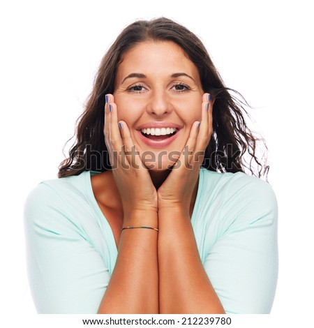 Cheerful excited modern Young Woman Smiling - stock photo