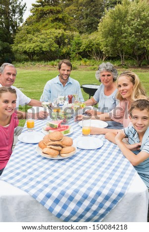 Cheerful extended family having dinner outdoors at picnic table smiling at camera - stock photo