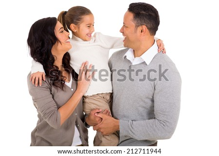 cheerful family isolated on white background - stock photo