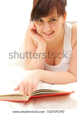 cheerful fat student girl with book, white background