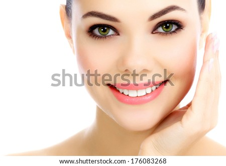 Cheerful female with fresh clear skin, white background  - stock photo
