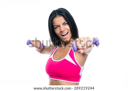 Cheerful fitness woman workout with dumbbells isolated on a white background. Looking at camera - stock photo