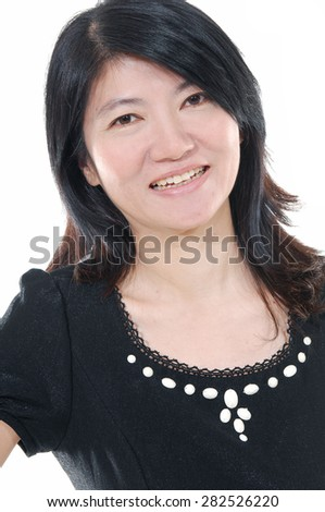 Cheerful full length portrait of middle aged female. - stock photo