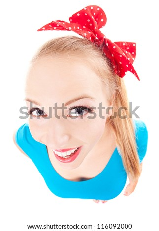Cheerful funny girl isolated on white - stock photo