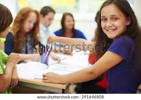 Cheerful girl during the lesson