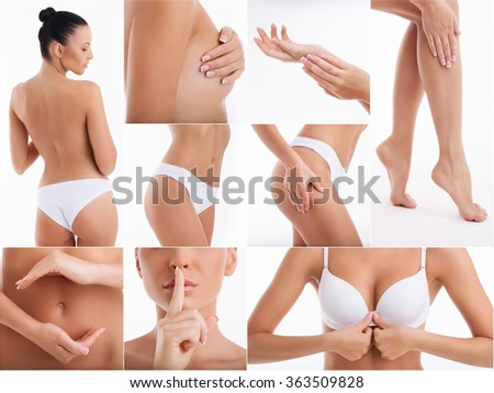 Cheerful girl is caring of her body - stock photo