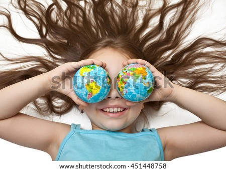 Cheerful girl lying down closed eyes balls-globes - stock photo