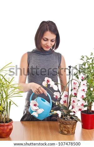 Cheerful girl watering flowers, studio shot - stock photo